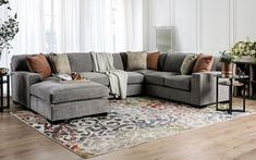 3 pc Ferndale gray chenille fabric sectional sofa set with chaise. Sectional measures x x L chaise x H. Fine Furniture, Home Decor Furniture, Couch Furniture, Farmhouse Furniture, Oversized Sectional Sofa, Gray Sectional, America Furniture, Sofa Material, U Shaped Sectional