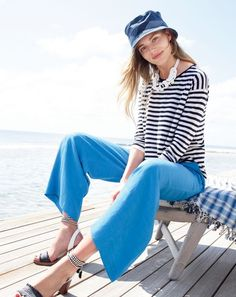 J.Crew women's Collection long-sleeve featherweight cashmere tee in stripe, Collection cropped linen pant and raffia ankle-tie sandals. To pre-order, call 800 261 7422 or email verypersonalstylist@jcrew.com.