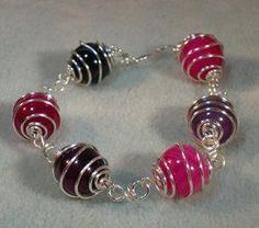 Coiled Wire Caged Bead Bracelet