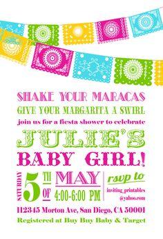 fiesta baby shower invitation papel picado by