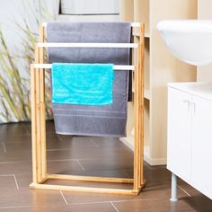 Freestanding Bamboo 3 Bars Towel Rack