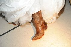 Cowboy boots - didn't have my feet aching at the end of the night like in heels!