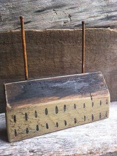 Basil Green Saltbox House Rustic Folk Art By A. Gambrel Ooak #NaivePrimitive #annettegambrel