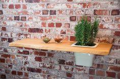 Pflanzregal Nr4 Eiche Massivholz 75 cm  Wandregal Regal Blumenregal mit Einsatz aus Porzellan #heimgruen