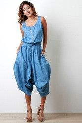 eb0afb133e2c Chambray Zip-Up Baggy Jumpsuit Baggy Jumpsuit