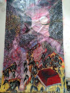 """il faut s'adapter"" 110.84 x 179.34 in ~ 2021 #porterenaud #largescaleart #painting #artiststudio #velociraptor #red #winckelmann #beveldere #apollon #oilpainting #contemporaryart #contemporarypainting #expressionism #artonpaper #newaesthetic #somaesthetic"