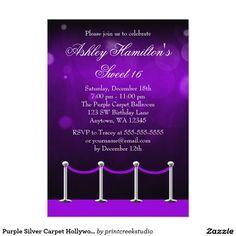 Purple Silver Carpet Hollywood Sweet 16 Birthday 5x7 Paper Invitation Card