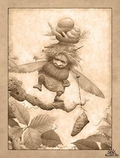 Fantasy and concept art by Ed Binkley Art And Illustration, Magical Creatures, Fantasy Creatures, Leprechaun, Fantasy Kunst, Fantastic Art, Fantasy World, Painting & Drawing, Art Drawings