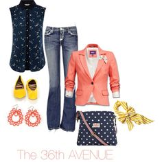 A fashion look from March 2013 featuring sleeveless tops, red jacket and blue jeans. Browse and shop related looks.