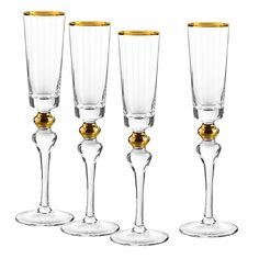 Qualia Dominion Champagne Flutes In Gold (Set Of Clear Champagne Glasses, Wedding Glasses, Gold Set, Sophisticated Style, Luxury Gifts, Mens Gift Sets, Gold Accents, Drinkware, Flute Glasses