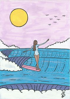 Surf illustration by Lorenzo Arzani Background For Photography, Photography Backdrops, Surfing Tattoo, Surf Kunst, Surf Drawing, Surf Logo, Surf Decor, Vinyl Backdrops, Tropical Art