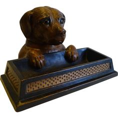 Beautifully Carved Antique Black Forest Figural Inkwell - Dog c.1900