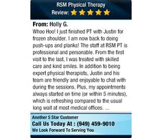 Whoo Hoo! I just finished PT with Justin for frozen shoulder. I am now back to doing...