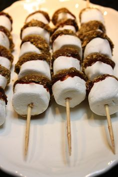 S'mores kabobs... simply melt chocolate chips and dip large marshmallows in, then immediately dip and roll the ends into graham cracker crumbs, and finally put them onto wooden skewers (SWOON!)