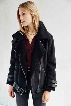 Faux Shearling & Faux Suede Aviator Jacket | FOREVER21 ...