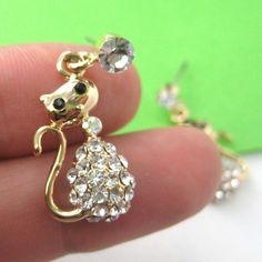 $6 Kitty Cat Animal Dangle Earrings in Gold with Rhinestones