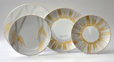 Hand-painted French Limoges Porcelain by Marie Daage ~ Collections: Indochine, Pananche Doré/Argenté.