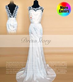 2015  White Lace Satin Evening Dress with Deep V by DressStory