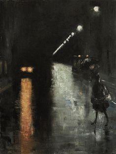 Lesser Ury (German, 1861-1931), Nächtliche Strassenszene, Berlin (Leipziger Strasse?) [Street scene at night, Berlin (Leipziger Strasse?)], c. 1920. Oil on canvas.  Thunderstruck