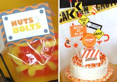 """""""I Dig You!"""" construction birthday party: Crazy Straws {Amazon} were used as connectors on the cake signs and soda bottle straws"""