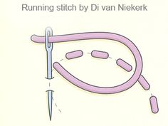 Running stitch | Di van Niekerk  This stitch can be made in thread or ribbon. If the the fabric is stretched in a hoop or frame, you may find it easier to form the stitches stab-stitch-style: take the needle and thread all the way to the back of your work before coming up to form the next stitch.    A useful stitch when forming outlines that are not too prominent on the design.