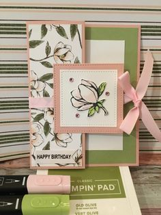 """""""Magnolia Bud Tri-fold Card"""" tied shut with a ribbon ~ by Pamela Nash at My Stam. - """"Magnolia Bud Tri-fold Card"""" tied shut with a ribbon ~ by Pamela Nash at My Stampin Dreams. Tri Fold Cards, Fancy Fold Cards, Folded Cards, Handmade Birthday Cards, Greeting Cards Handmade, Magnolia Stamps, Stamping Up Cards, Card Sketches, Paper Cards"""