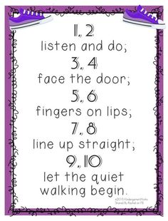 """5 Quick Hallway Transitions {Printable} 2 listen and do; 4 face the door; 6 fingers on lips; 8 line up straight; 10 let the quiet walking begin."""" 5 Quick Hallway Transitions for Kindergarten {Free Printables} Kindergarten Songs, Preschool Songs, Preschool Goodbye Song, Beginning Kindergarten, Preschool Class Rules, Preschool Door, Classroom Behavior, Future Classroom, Classroom Chants"""