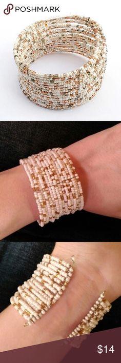 Bohemian Beaded Bracelet Brand new. Plastic seed beads on a wire bracelet. Winter ❄️ Styles.                                     Non-branded.                                                    📢 Price is Firm. Jewelry Bracelets