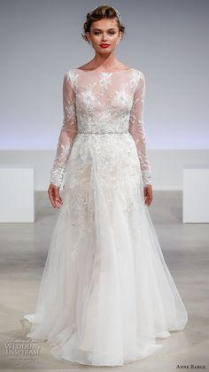anne barge fall 2017 bridal lace long sleeves sheer bateau neckline heavily embellished bodice elegant a  line wedding dress illusion back sweep train (claire) mv