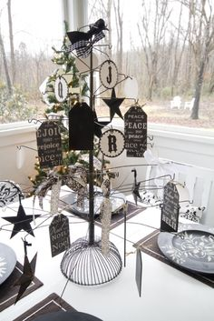 wire tree with tags