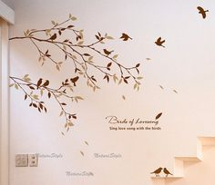 Two Branches with Flying Birds Vinyl Wall by NatureStyle on Etsy, $35.00