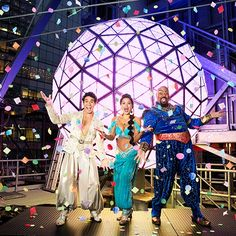 Aladdin stars Adam Jacobs, Courtney Reed and James Monroe Iglehart celebrate New Year's Eve