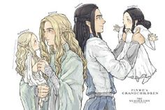 """Finrod, Turgon, Galadriel, Aredhel (Finrod is just looking so quietly fascinated by his little sister, and Turgon is all """"Hmmm. A sister. Let's take a closer look at this."""")"""