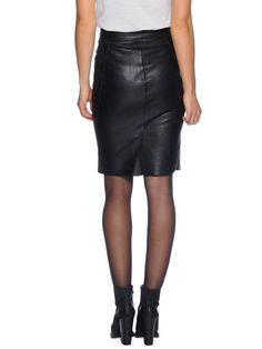 tighaleather skirt, black