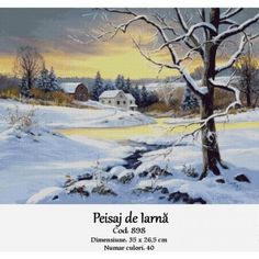 Peisaj de iarna Cross Stitch Kits, Winter, Polyvore, Painting, Outdoor, Design, Embroidery, Outdoors, Painting Art