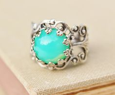 Vintage Green Opal Ring,Minty Green Glass Opal,Silver Filigree Adjustable Ring,Crown Setting,Boho,Everyday,Opal Jewelry,Birthstone,One size