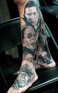 Universal Horror tattoo...beautiful work ! I love this! Missing The Creature from the Black Lagoon and Frankenstein!!!