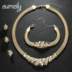 OUMEILY Wedding Accessories African Beads Jewelry Sets Imitation Crystal Gold Color Bridal Necklace Bracelet Earrings Rings Set
