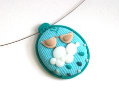 """Polymer Clay Pendant Necklace """"Birds in Heaven""""  by MemecoShop at Etsy"""