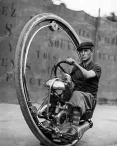 One Wheel Motorcycle Vintage 8x10 Reprint Of Old Photo