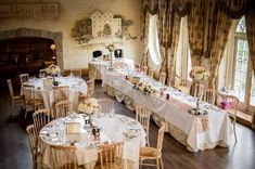 Wedding decor and floral centrepieces for a beautiful wedding at Cliff at Lyons Wedding Venue Decorations, Wedding Centerpieces, Wedding Venues, Floral Centrepieces, Irish Wedding, Cliff, Table Settings, Beautiful, Wedding Reception Venues