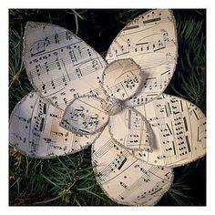 Vintage sheet music Magnolia ornament tutorial