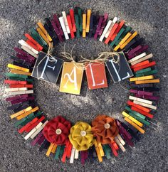 Fall clothespin wreath by ThreeDogWreaths on Etsy
