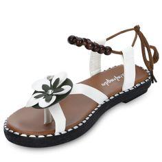288b0606cc5 Trendy Toe Post Flower Bead Strap Women Sandals Colors  White   Black  ender  For