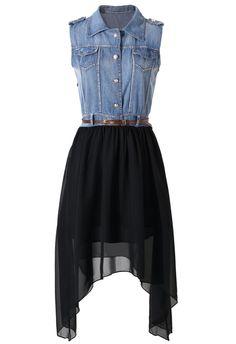 Denim Top Asymmetric Dress With Black Skirt