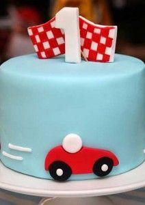 Race car cake.  LOVE.
