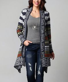 Another great find on #zulily! Charcoal Southwest Knit Sweater - Plus…