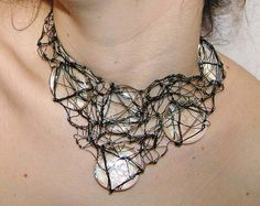 Necklace | Tavia Sanza (Homogenous Bonanza on Etsy).  Copper coated wire and glass.