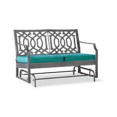 Patio Bench: Harper Metal Motion Patio Garden Bench: Turquoise:... ($240) ❤ liked on Polyvore featuring home, outdoors, patio furniture, outdoor benches, turquoise, patio glider chair, metal patio glider, outdoor patio furniture and metal garden benches