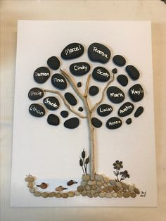 Family tree, pebble art, black stones and coy pond.
